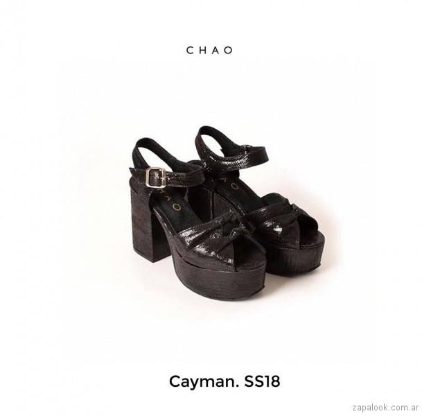 Sandalias negras taco alto verano 2018 - Chao Shoes
