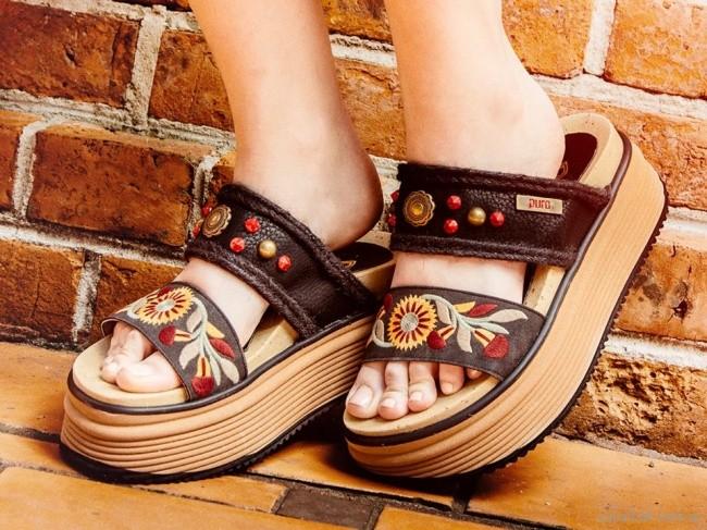 sandalias negras bordadas verano 2018 - PURO