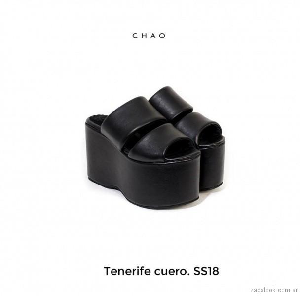 sandalias negras con plataformas verano 2018 - Chao Shoes