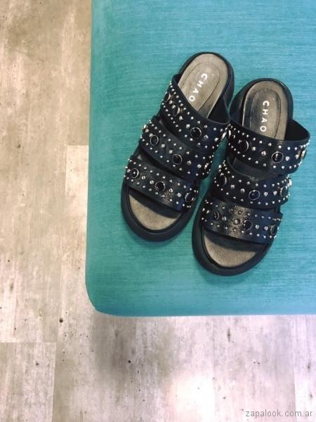 sandalias negras multiples tiras verano 2018 - Chao Shoes