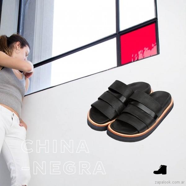 sandalias negras tiras verano 2018 Le Loup