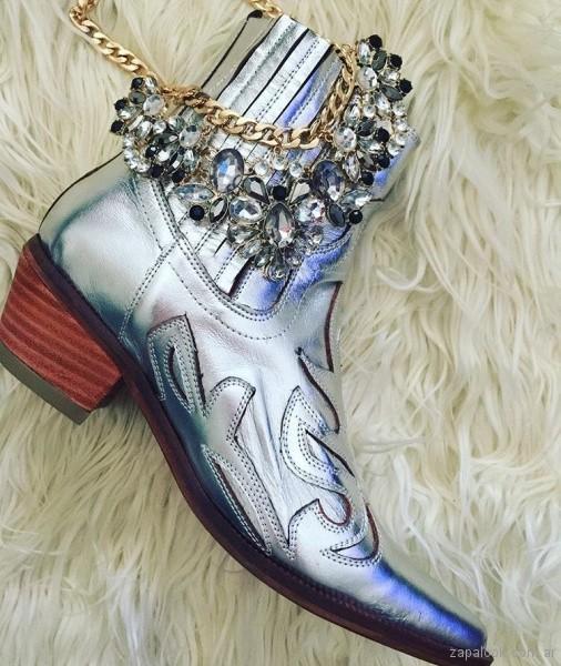 agus huerga zapatos - botinetas plateadas invierno 2018