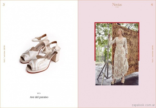 Sandalias blancas y doradas para novias invierno 2018 - LOMM Shoes