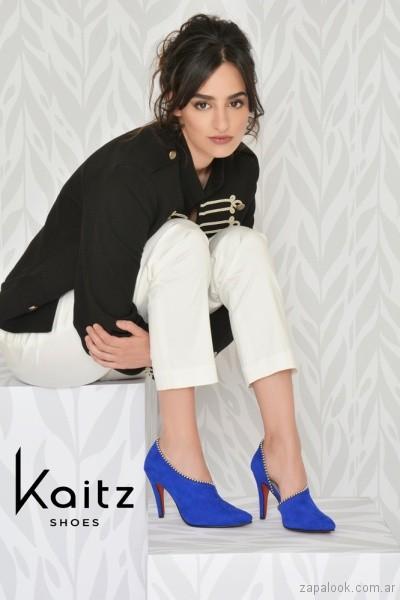Zapatos de fiesta azul electrico invierno 2018 - Kaitz