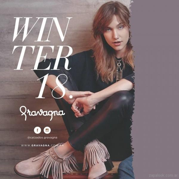 botineta con flecos calzado Gravana invierno 2018