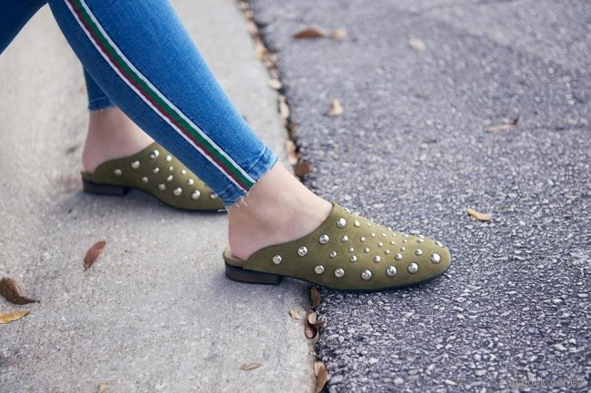 mules verde oliva invierno 2018 - Green and Black Shoes