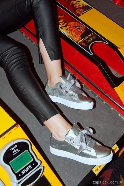 zapatillas plateadas invierno 2018 - Green and Black Shoes