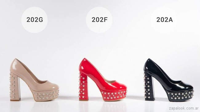 zapatos de charol con tachas invierno 2018 - Micheluzzi