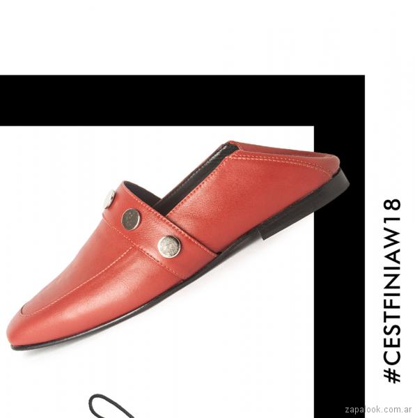 zapatos rojos bajos para mujer invierno 2018 - Cestfini