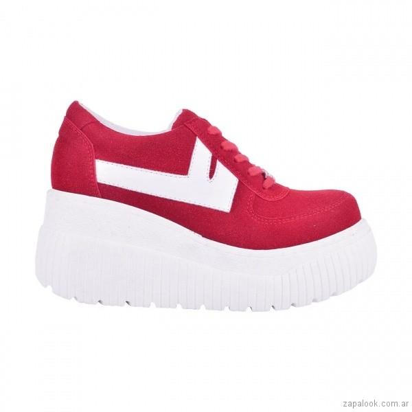 zapatillas rojas con plataforma invierno 2018 - Luna Chiara