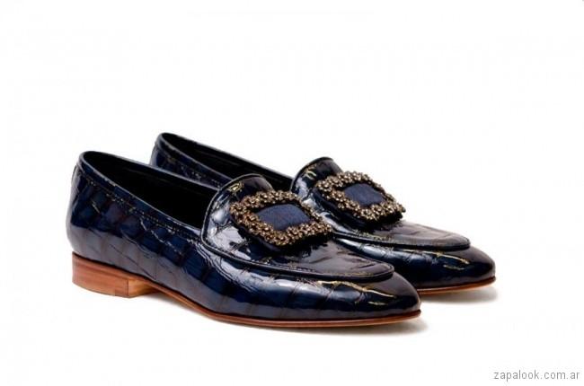 zapatos planos azules invierno 2018 - TOSONE