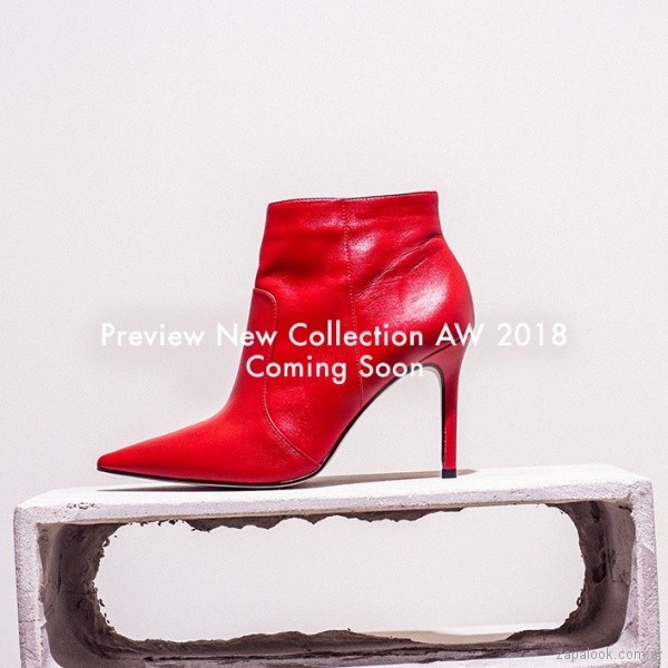 botas cortas rojas invierno 2018 Via Uno Argentina