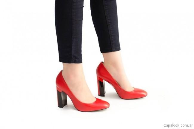 zapatos punta redonda rojos invierno 2018 - Ferraro