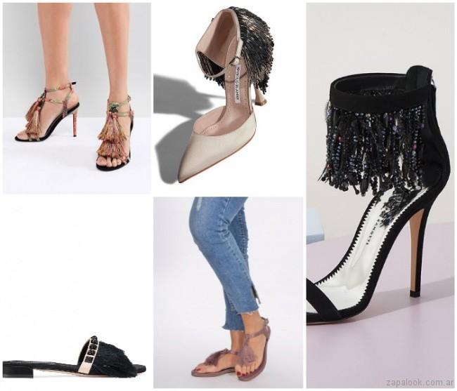 Zapatos con flecos largos moda verano 2019 - Argentina