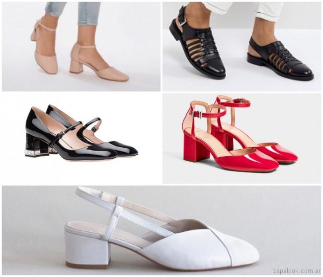 Zapatos taco medio puta redonda de moda verano 2019 - Argentina