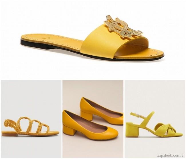 Zapatos y sandalias amarillas verano 2019