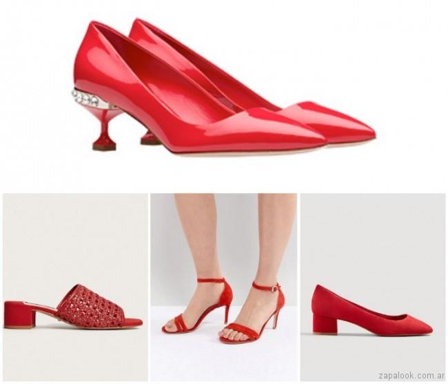 Zapatos y sandalias rojas verano 2019