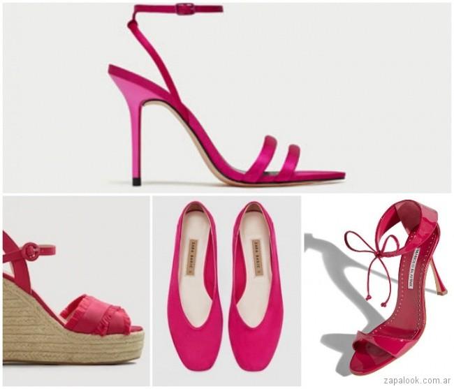 sandalias y zapatos fucsia verano 2019
