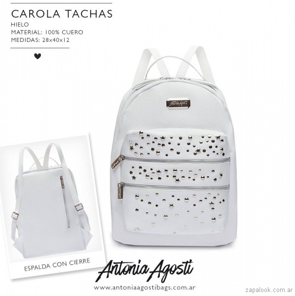 Mochila blanca con tachas primavera verano 2019 - Antonia Agosti Bags