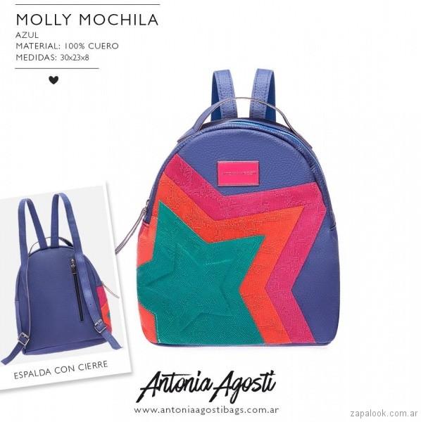 Mochila de cuero multicolor primavera verano 2019 - Antonia Agosti Bags