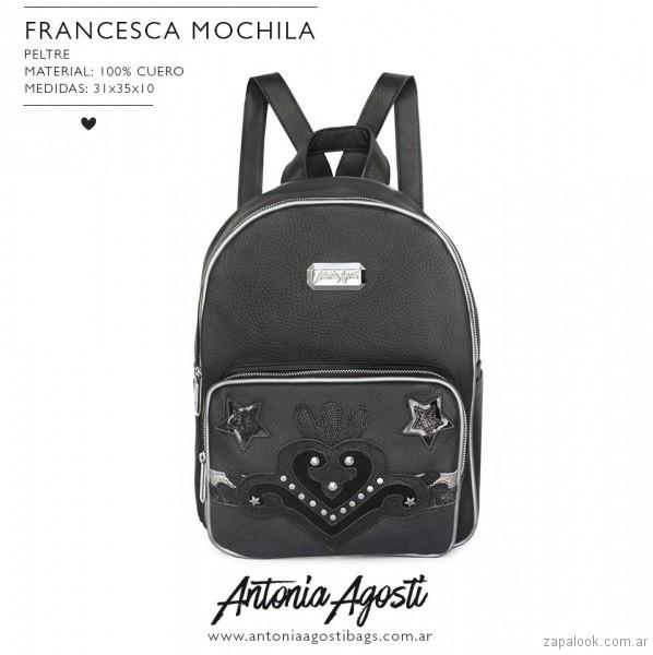 Mochila negra de cuero primavera verano 2019 - Antonia Agosti Bags
