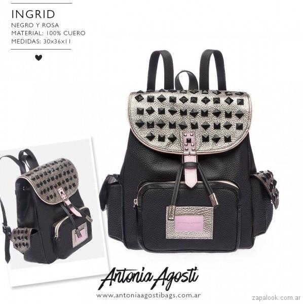 Mochila negra y dorada primavera verano 2019 - Antonia Agosti Bags