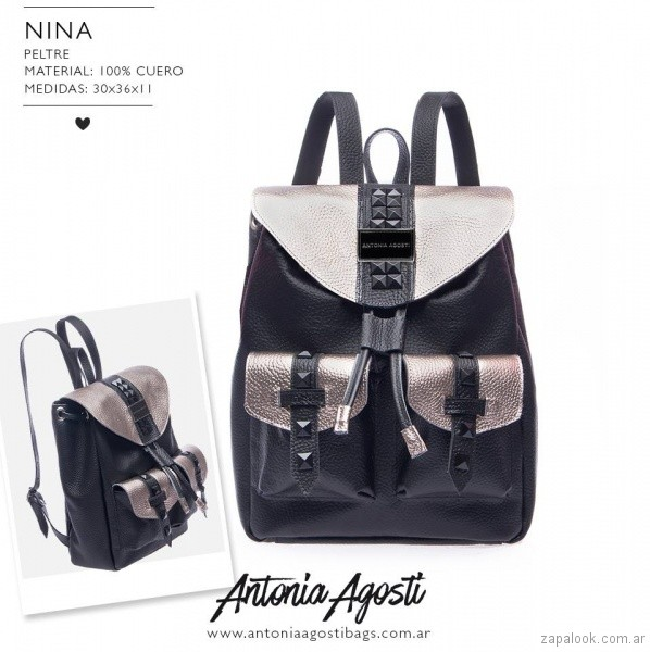 Mochila negra y plateada primavera verano 2019 - Antonia Agosti Bags