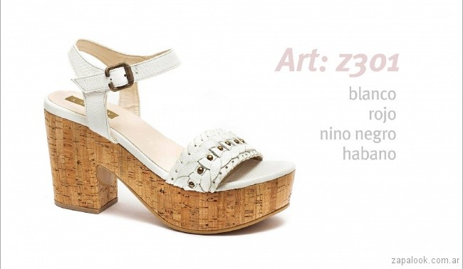 Sandalias altas blancas casuales primavera verano 2019 - Traza calzados