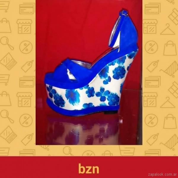 Sandalias para fiestas azul electrico verano 2019 - Bonzini Shoes
