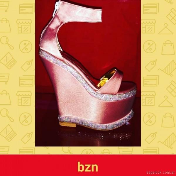 Sandalias para fiestas de raso verano 2019 - Bonzini Shoes