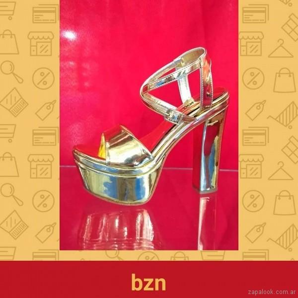 Sandalias para fiestas doradas verano 2019 - Bonzini Shoes