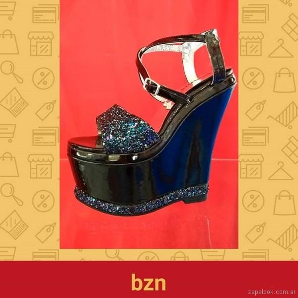 Sandalias para fiestas negras con glitter verano 2019 - Bonzini Shoes
