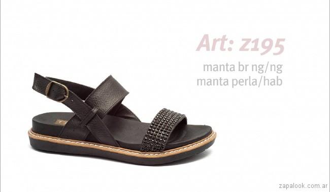 Sandalias planas negras primavera verano 2019 - Traza calzados
