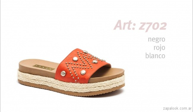 sandalia plana roja primavera verano 2019 - Traza calzados
