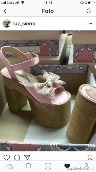 sandalia plataforma rosada con aplique de moño de puntilla Luz sierra Zapatos primavera verano 2019