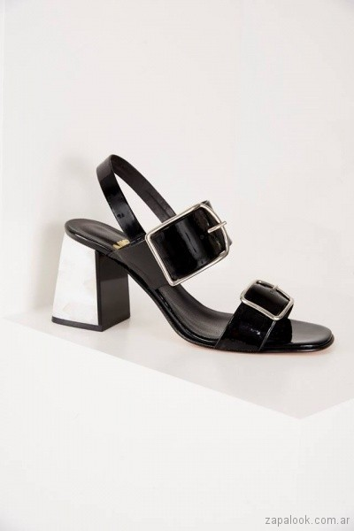 sandalia negra taco blanco verano 2019 - Calzado Mishka