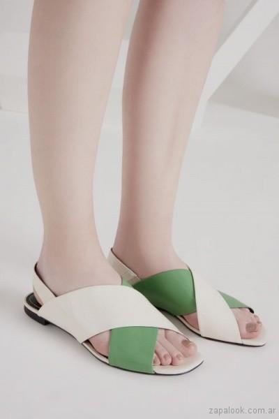 sandalias verdes planas verano 2019 - Calzado Mishka