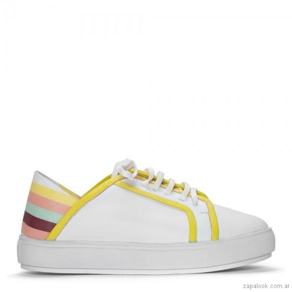 zapatilla blanca con rayas de colores verano 2019 - Justa Osadia