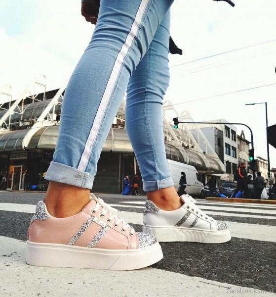 zapatillas con brillos para adolescentes primavera verano 2019 - Calzados Micaela Pasos que enamoran