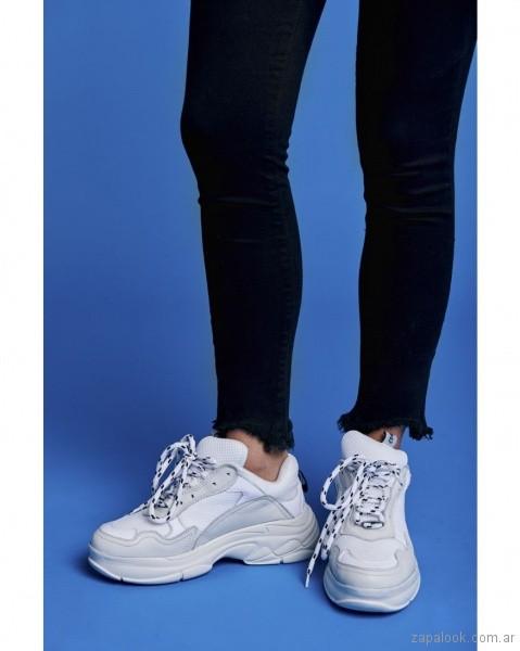 Zapatilla blanca plataformas altas verano 2019 - calzados adolescentes 47 Street