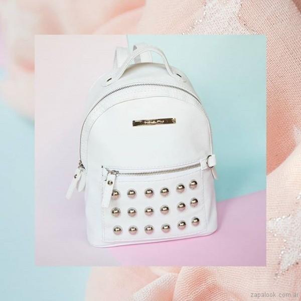 mochila de cuero blanca verano 2019 - Nina Piu