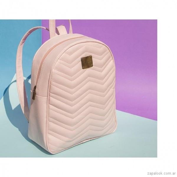 mochila de cuero rosada blanca verano 2019 - Nina Piu