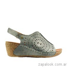 sandalias celestes taco chino verano 2019 - Claris Shoes
