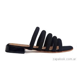 sandalias negras planas verano 2019 Cestfini