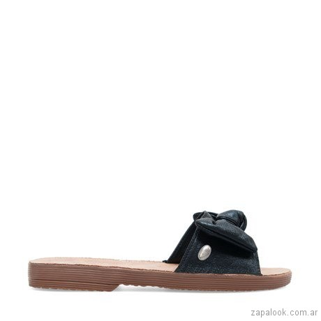 sandalias planas negras moño verano 2019 - Lady Stork