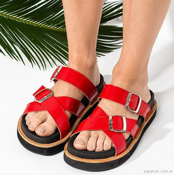 sandalias planas rojas verano 2019 - Sofi Martire