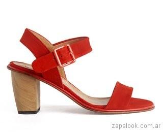 sandalias rojas taco medio verano 2019 Cestfini