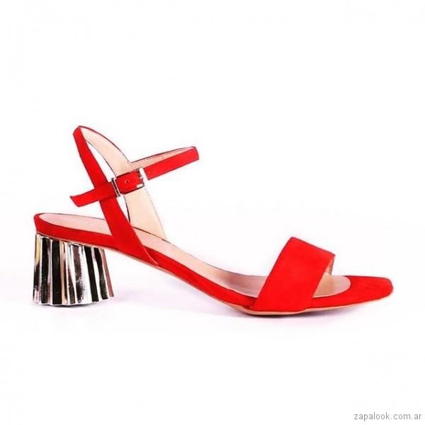 sandalias rojas taco metalizado verano 2019 - Micheluzzi