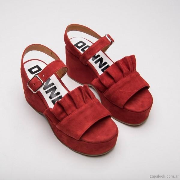 sandalias rojas verano 2019 - Calzados DONNE