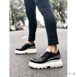 zapatillas negra base blanca juveniles verano 2019 - Pamuk